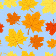 Seamless pattern with autumn maple leaves. Vector EPS 8. — Stock Vector