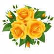 Three yellow roses. Vector illustration. — Stock Vector