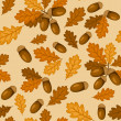 Seamless pattern with autumn oak leaves and acorns. Vector illustration. — Stock Vector #12587665