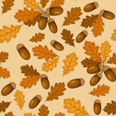 Seamless pattern with autumn oak leaves and acorns. Vector illustration. — Vettoriale Stock