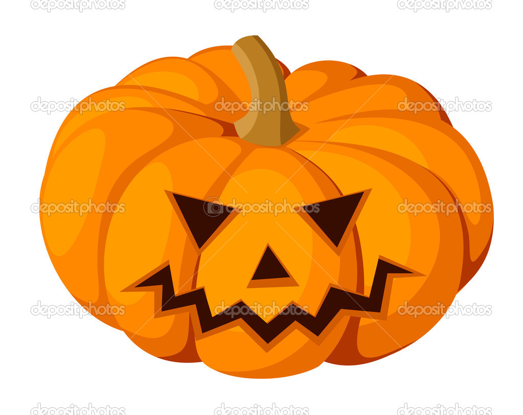 Vector illustration of Jack-O-Lantern (Halloween pumpkin) isolated on a white background. — Stock Vector #12839881