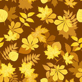 Seamless pattern with yellow autumn leaves. Vector illustration. — Stock Vector
