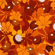 Seamless pattern with autumn chestnut leaves and chestnuts. Vector illustration. — Stock Vector
