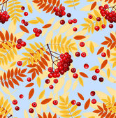 Seamless pattern with rowan leaves and rowanberries. Vector illustration. — Stock Vector