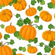Stock Vector: Seamless pattern with orange pumpkins and green leaves. Vector illustration.