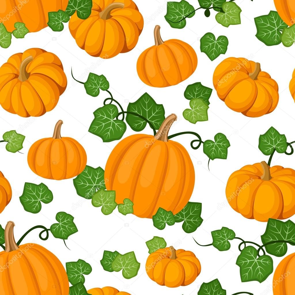 Vector seamless pattern with orange pumpkins and green leaves on a white background. — Stock Vector #13358983