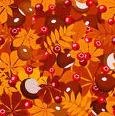 Seamless pattern with autumn leaves, chestnuts and rowanberries. Vector illustration. — Stock Vector