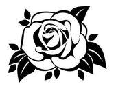 Silhouette noire de la rose avec des feuilles. illustration vectorielle. — Vecteur