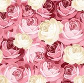 与粉红和白色玫瑰的无缝模式。矢量插画. — 图库矢量图片