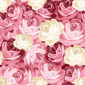 Seamless pattern with pink and white roses. Vector illustration. — Stok Vektör
