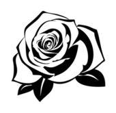 叶子上有朵玫瑰的黑色剪影。矢量插画. — 图库矢量图片