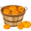 Wooden basket with pumpkins. Vector illustration. - Stock Vector