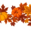 Horizontal seamless background with pumpkins and autumn maple leaves. Vector illustration. — Vector de stock  #13706528