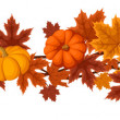 Horizontal seamless background with pumpkins and autumn maple leaves. Vector illustration. — Stok Vektör #13706528