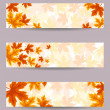 Set of three vector banners (468x120px) with autumn leaves. — Stock Vector