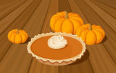 Pumpkin pie and orange pumpkins. Vector illustration. — Stock Vector