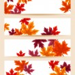 Set of four vector banners (468x120px) with autumn maple leaves. — Stock Vector