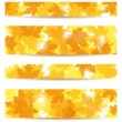Set of four vector banners with autumn maple leaves. — Stock Vector