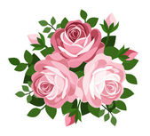Three pink roses. Vector illustration. — Stock Vector