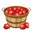 Wooden basket with strawberry. Vector illustration. - Stock Vector