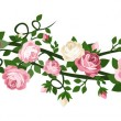Vector horizontal seamless background with pink and white roses. — Stock Vector