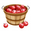 Wooden basket with red apples. Vector illustration. — Stock Vector #14347027