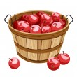 Stock Vector: Wooden basket with red apples. Vector illustration.