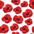 Seamless pattern with red poppies. Vector illustration. - Stock Vector