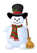 Christmas snowman. Vector illustration. — Stock Vector