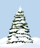 Snowy fir-tree. Vector illustration. — Stock Vector
