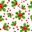 Seamless background with Christmas holly. Vector illustration. - Stock Vector