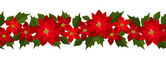 Horizontal seamless Christmas background with red poinsettia. Vector illustration. — Stock Vector