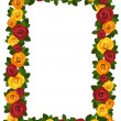 Frame with red and yellow roses. Vector illustration. — Stok Vektör