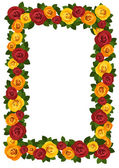 Frame with red and yellow roses. Vector illustration. — Stock Vector