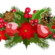 Christmas decoration with holly, fir-tree, cones, poinsettia and apples. Vector illustration. — Stock Vector