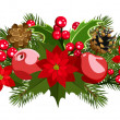 Christmas decoration with holly, fir-tree, cones, poinsettia and apples. Vector illustration. — Stockvektor