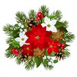 Stock Vector: Christmas decoration with poinsettia, fir-tree, cones, holly, and mistletoe. Vector illustration.
