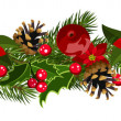 Christmas horizontal seamless background with fir-tree branches, cones, poinsettia and holly. — Stock Vector