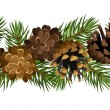Stock Vector: Vector horizontal seamless background with fir tree branches and cones.