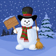 Christmas card with snowman and winter landscape. Vector illustration. — Stockvektor