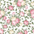 Seamless pattern with pink and white roses. Vector illustration. — Stock Vector #18198083