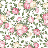 Seamless pattern with pink and white roses. Vector illustration. — Stock Vector