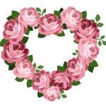 Pink roses heart frame. Vector illustration. — Stock Vector