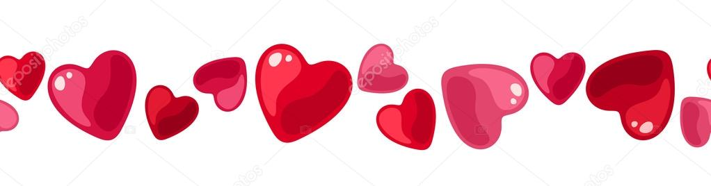 Vector illustration of horizontal seamless background with red and pink hearts on a white background. — Vektorgrafik #18334935