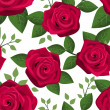 Seamless background with red roses. Vector illustration. — Stock Vector #18392045