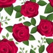 Seamless background with red roses. Vector illustration. — Stock Vector
