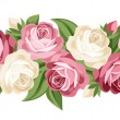 Horizontal seamless background with roses. Vector illustration. - Stock Vector