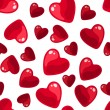 Seamless background with red hearts. Vector illustration. - Stock Vector