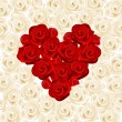 Heart of red roses on white roses. Vector illustration. — Stock Vector
