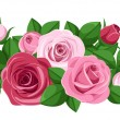 Red and pink roses, rosebuds and leaves. Vector illustration. — Stock Vector